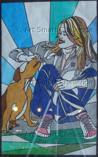Woman petting dog - Stained Glass Designs