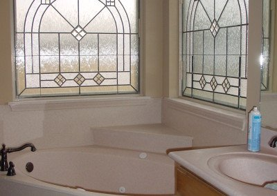 Stained glass in bathroom