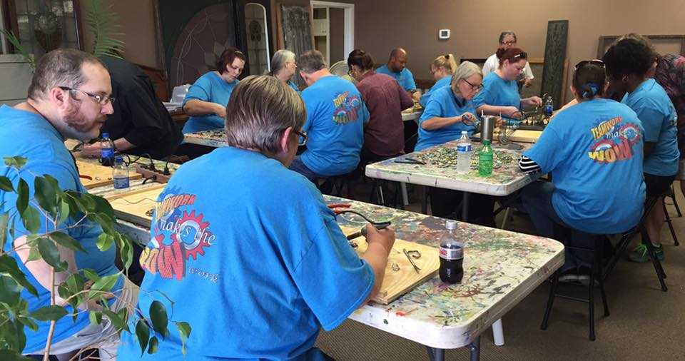 Stained glass parties for business groups at the Art Event Center