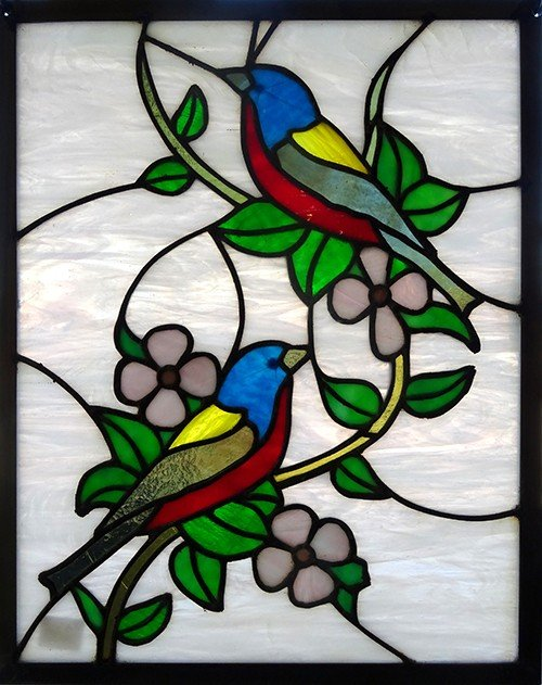 Blue Red Birds stained glass