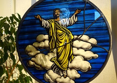 Christ On Clouds stained glass