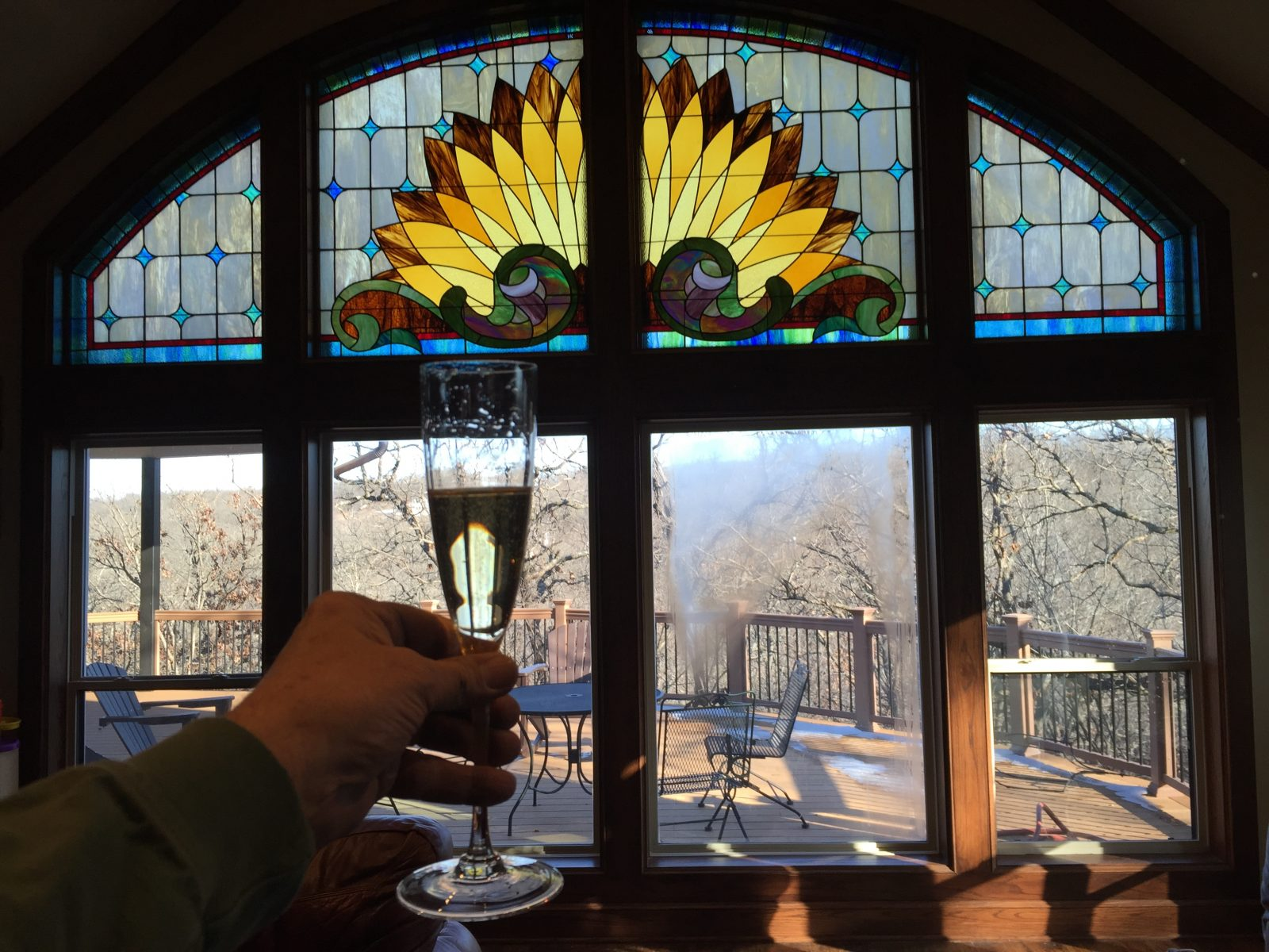 wine toast to beautiful stained glass