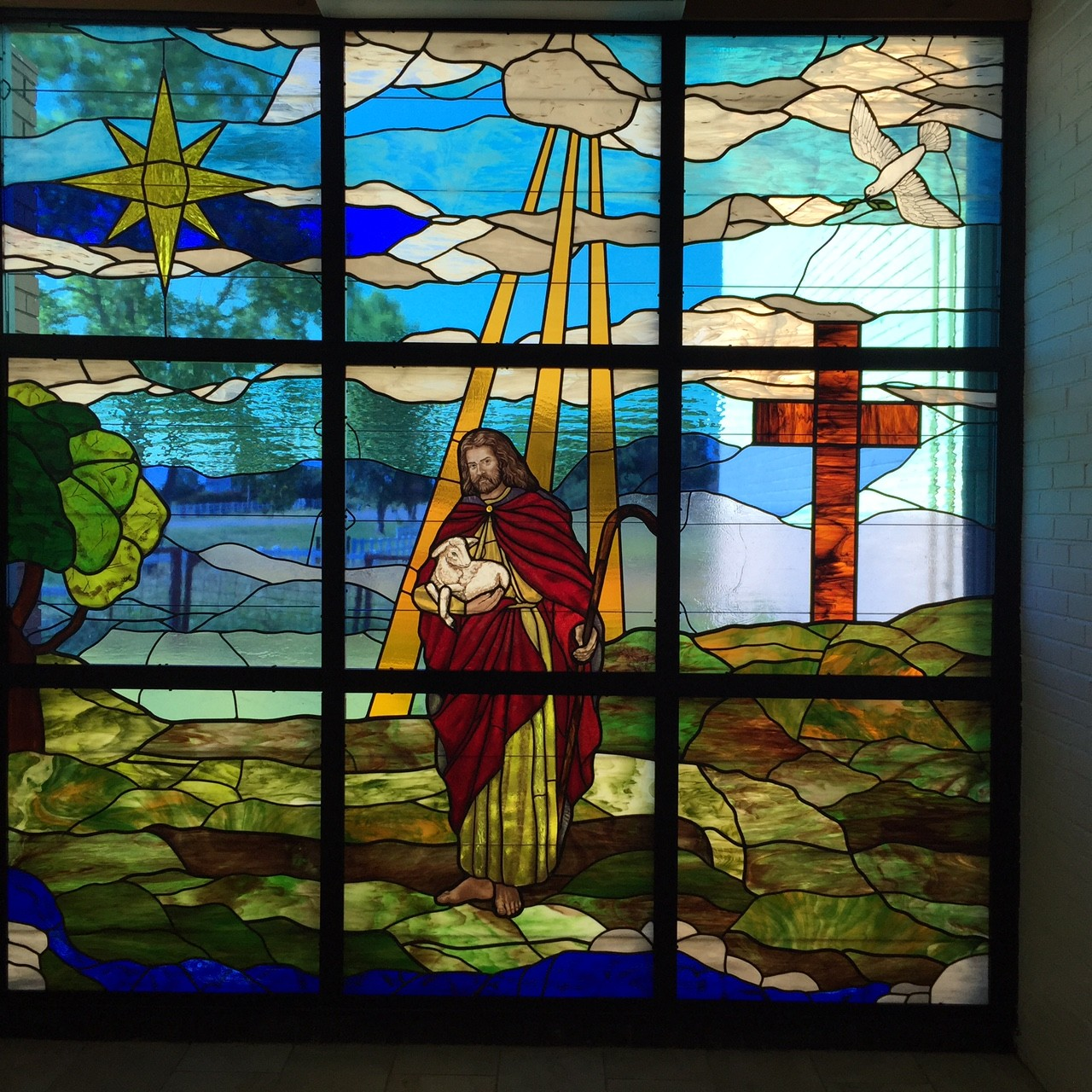 Tulsa Hills Baptist - Jesus holding lamb stained glass
