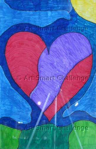 blue and red heart - stained glass projects