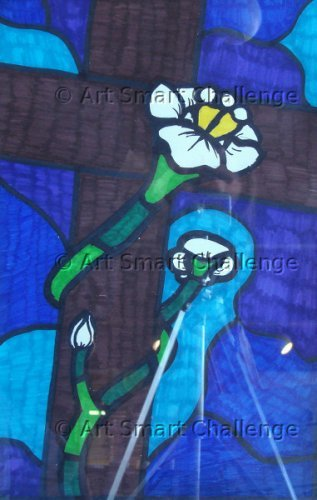 flower around tree - stained glass project