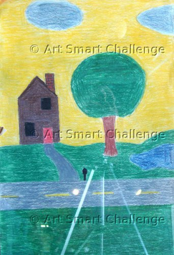 house across the way, with tree in front - art smart challenge 2015