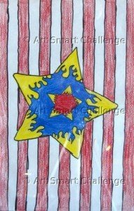 Star in front of red stripes - Stained glass design