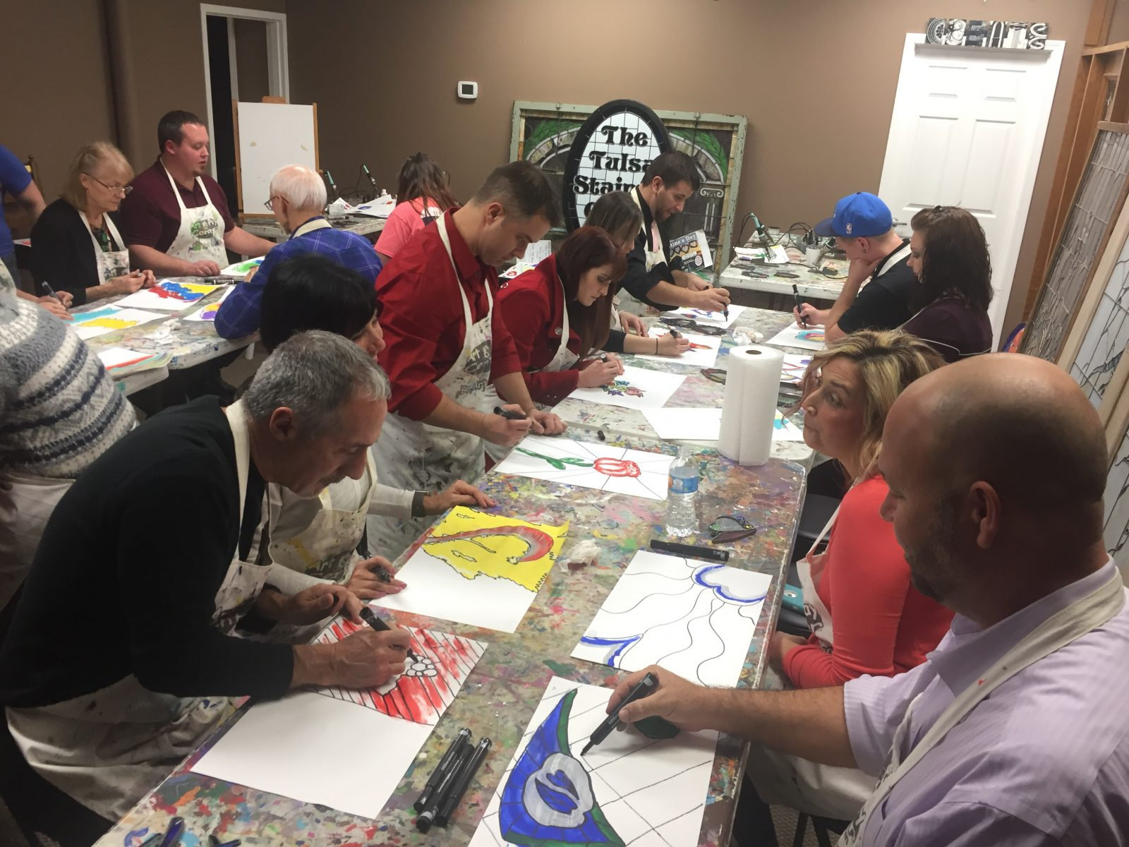 Team Outing Art Glass Experience spontaneous painting